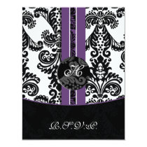 monogram damask purple rsvp cards