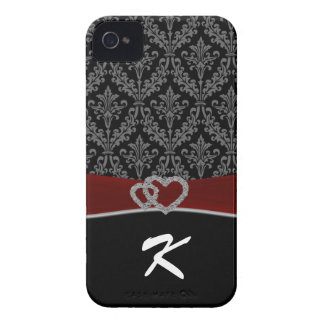 Monogram Damask red Case-Mate iPhone 4 Cases