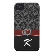Monogram Damask red iPhone 4 Cover