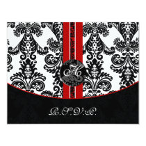 monogram damask red rsvp cards