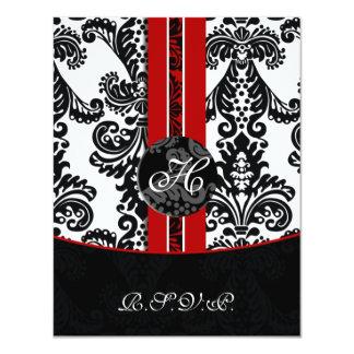 monogram damask red rsvp cards