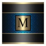 Monogram Damask Royal Blue, Black and Gold Custom Announcement