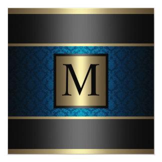 Monogram Damask Royal Blue, Black and Gold 5.25x5.25 Square Paper Invitation Card