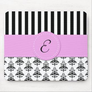 Monogram - Damask, Stripes - Black White Pink Mouse Pad