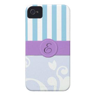 Monogram - Damask Stripes - Blue Purple iPhone 4 Case