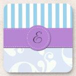 Monogram - Damask, Stripes - Blue Purple Coasters