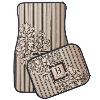 Monogram Damask Stripes Girly Neutral Monochrome Car Floor Mat