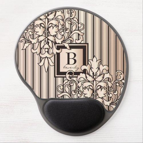 Monogram Damask Stripes Girly Neutral Monochrome Gel Mouse Pad