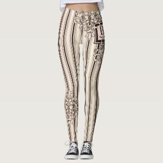 Monogram Damask Stripes Girly Neutral Monochrome Leggings
