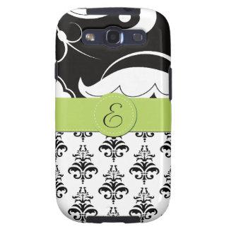 Monogram - Damask Swirls - Black White Green Galaxy SIII Cases