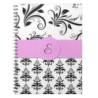 Monogram - Damask Swirls - Black White Pink Note Books