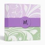 Monogram - Damask, Swirls - Green White Purple 3 Ring Binder