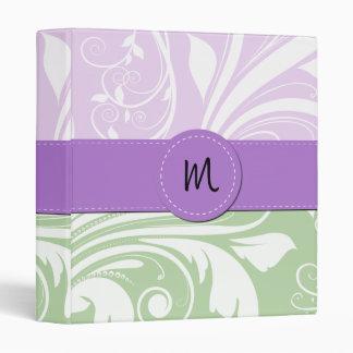 Monogram - Damask Swirls - Green White Purple 3 Ring Binder