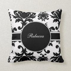 Monogram Damask Throw Pillow