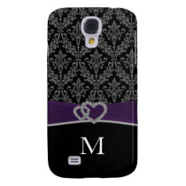 monogram damask violet Pern 3 casing Galaxy S4 Cover