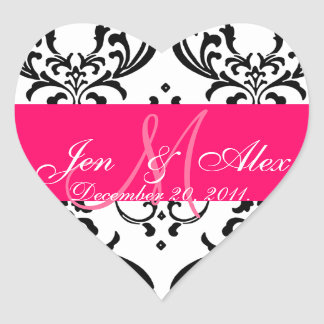 Monogram Damask Wedding Favour Sticker Heart Shape