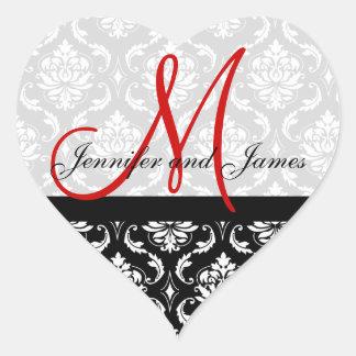 Monogram Damask Wedding Favour Stickers Red