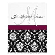 Monogram Damask Wedding Invitation Wine Red