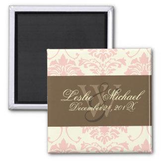 Monogram Damask Wedding, pink 2 Inch Square Magnet