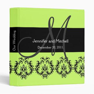 Monogram Damask Wedding Planner Bright Green 3 Ring Binder