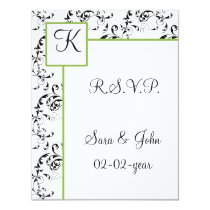 Monogram damask wedding R.S.V.P Card