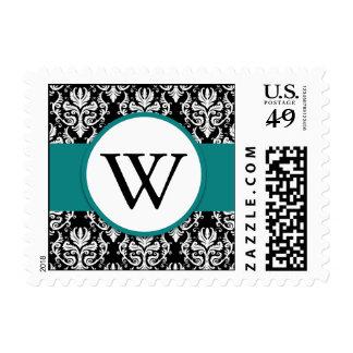 Monogram Damask Wedding Stamp