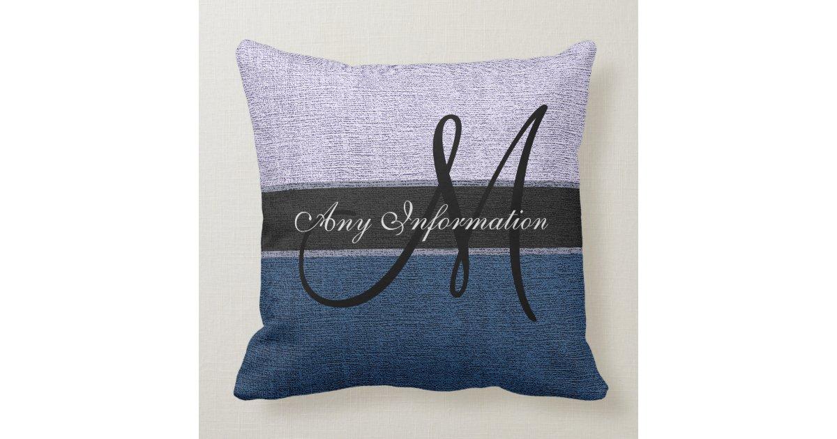Silver Blue Decorative Pillows : Monogram Dark Blue and Silver Burlap Rustic Jute Throw Pillow Zazzle