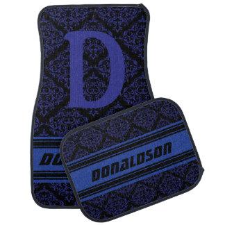 Monogram Dark Blue & Black Damask | Personalize Car Mat