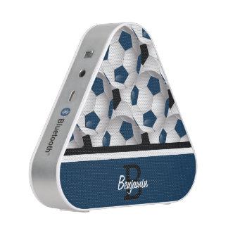 Monogram Dark Blue Black Soccer Ball Pattern Bluetooth Speaker