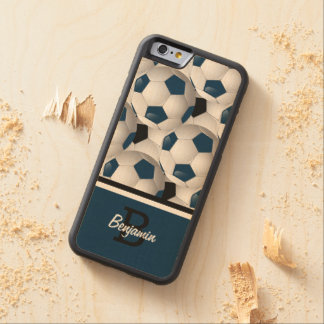 Monogram Dark Blue Black Soccer Ball Pattern Carved Maple iPhone 6 Bumper Case