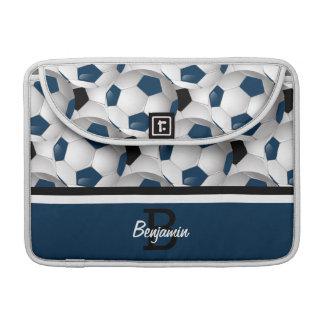 Monogram Dark Blue Black Soccer Ball Pattern MacBook Pro Sleeve