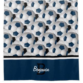 Amazing Monogram Dark Blue Black Soccer Ball Pattern Shower Curtain