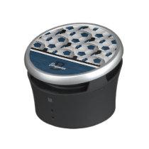 Monogram Dark Blue Black Soccer Ball Pattern Speaker