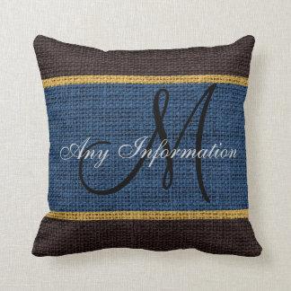 Monogram Dark Blue Rustic Burlap Jute Throw Pillow