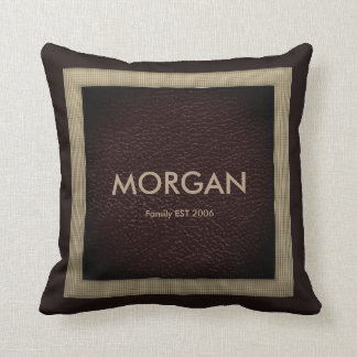 Monogram Dark Brown Faux Leather Throw Pillow