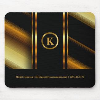 Monogram Dark Gold & Black Diagonal Stripes Mouse Pad