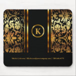 "Monogram Dark Gold &amp; Black Floral Damask Mouse Pad<br><div class=""desc"">Mouse Pad. Charming unique mouse pad in a black &amp; gold floral damask background and diy monogram and text. - Made with high resolution vector graphics for a professional print. 100% Customizable. Ready to fill in the box(es) or Click on the CUSTOMIZE IT button to change, move, delete, resize any...</div>"