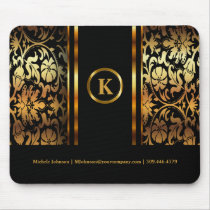 Monogram Dark Gold & Black Floral Damask Mouse Pad