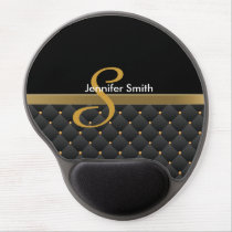 Monogram Dark Gold & Black Pattern Design Gel Mouse Pad