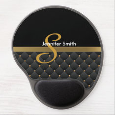 Monogram Dark Gold & Black Pattern Design Gel Mouse Pad at Zazzle