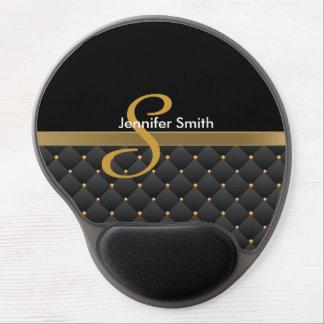 Monogram Dark Gold & Black Pattern Design Gel Mouse Pad