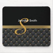 Monogram Dark Gold & Black Pattern Design Mouse Pad