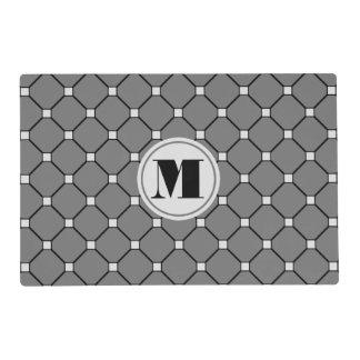 Monogram Dark Gray Diamond Paper Placemat Laminated Place Mat