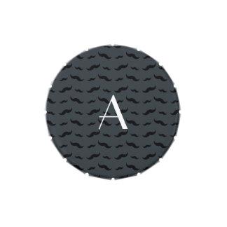 Monogram dark gray mustache pattern jelly belly tin