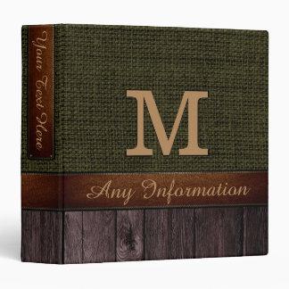 Monogram Dark Green Burlap Rustic Jute Look Wood Binder
