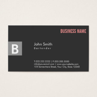 Monogram Dark Grey Bartender Business Card