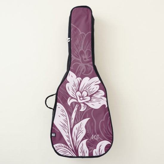 Monogram Dark Magenta Pink Vintage Flowers Guitar Case