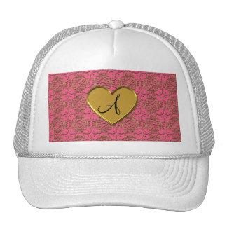 Monogram dark pink gold moroccan damask mesh hats