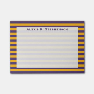 Monogram Dark Purple and Gold Yellow Stripe Post-it Notes
