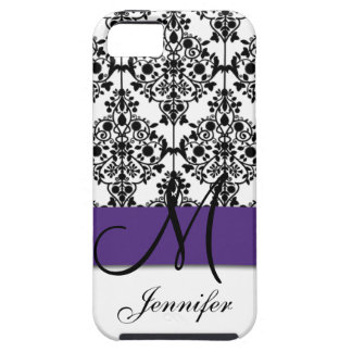 Monogram Dark Purple Black White Floral Damask iPhone 5 Covers